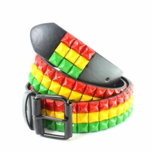 Belt Rasta Colors Green Yellow Red Metal Spikes