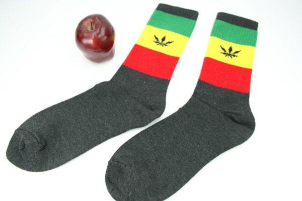 Long Black Rasta Sock Cannabis Leaf