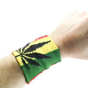 Wristband Cannabis Leaf Rasta Colors