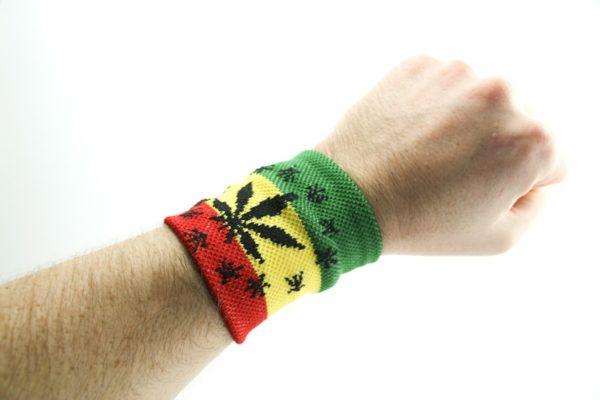 Rasta Wristband Leaf and Stars
