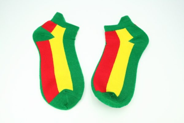 Low-Cut Socks Green Yellow Red Stripes all Sizes