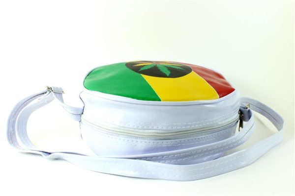 Bag Vinyl White Circle Recyclable Cannabis Leaf