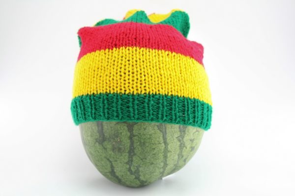 Beanie Long Large Stripes Red Green Yellow