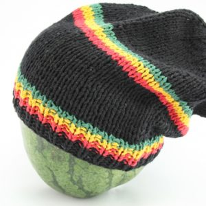 Beanie Black Long Forehead And Middle Stripes Green Yellow Red