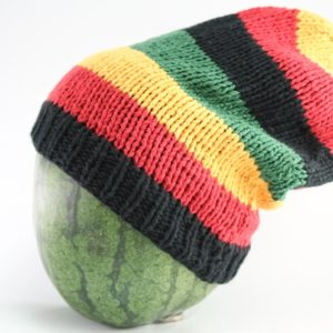 Beanie Long Large Stripes Green Yellow Red Black