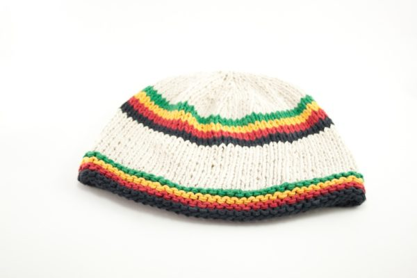 Rasta Beanie Short Handknitted White Bonnet With Green Yellow Red and Black Stripes
