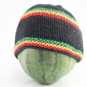 Beanie Black Short Forehead and Middle Stripes Green Yellow Red