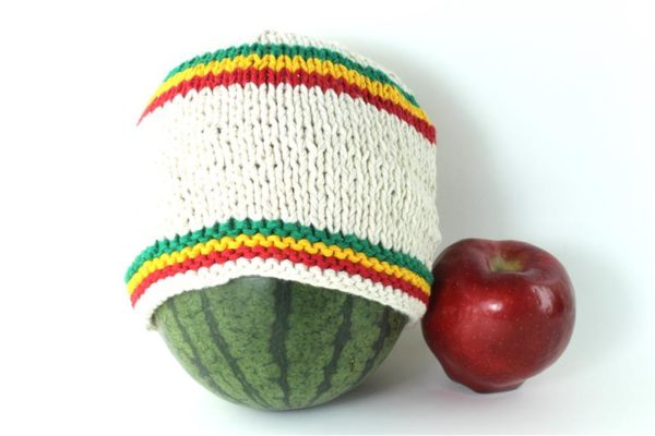 Beanie Short Small Stripes Green Yellow Red