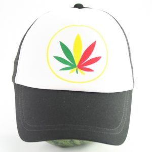 Cap White Color Rasta Weed Leaf