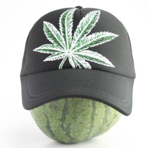 Cap Black Color Big Cannabis Leaf