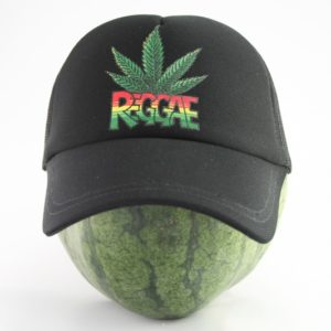 Cap Black Color Rasta Cannabis Leaf