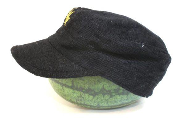 Cap Hemp Black Cannabis Leaf Gold