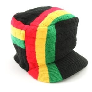 Cap Black Hiphop Stripes Rasta Colors