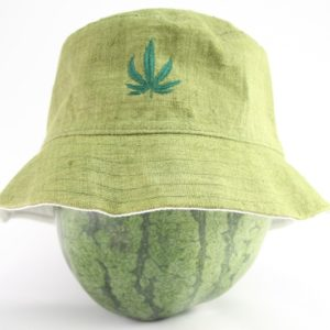 Bucket Hat Green Kaki Cannabis Leaf