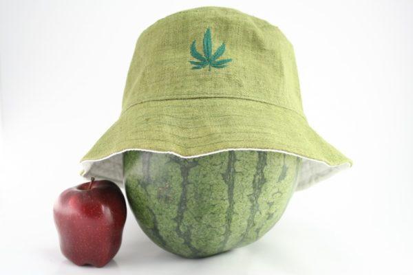Bucket Hat Green Kaki Cannabis Leaf