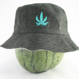 Bucket Hat Black Cannabis Leaf