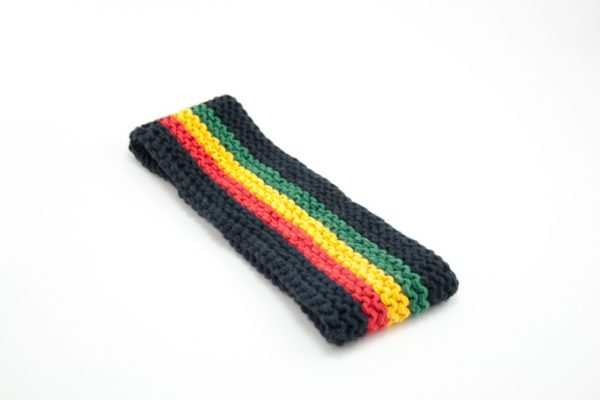 Headband Black and Rasta Colors 3 Inches