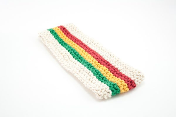 Rasta Headband White Green Yellow Red 3 Inches