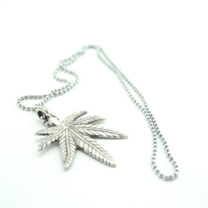 Necklace Metal Pendant Cannabis Leaf