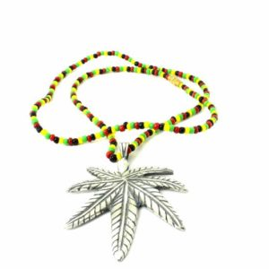 Necklace Rasta Beads Cannabis Leaf