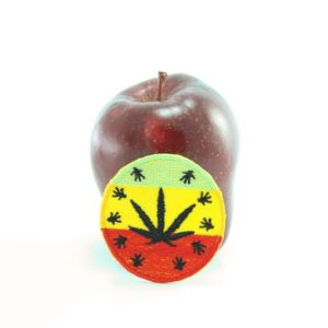Patch Circle Black Ganja Leaf A021