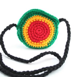 Purse Rasta Colors Sun Shape Black Strap Zip