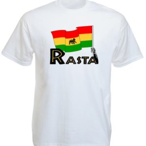 Green Yellow Red Lion Rasta Flag White Tee-Shirt