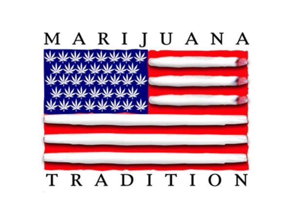 Marijuana Tradition USA Flag White Tee-Shirt