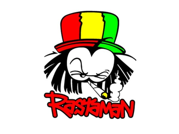 Rastaman White T-Shirt Short Sleeves Humorous Rasta Cartoon T-Shirt