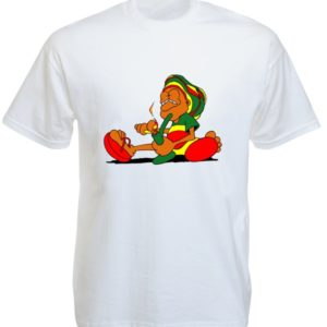Rastaman Smoking Pipe White Tee-Shirt