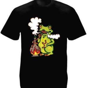 Frog Smoking Pipe Black Tee-Shirt