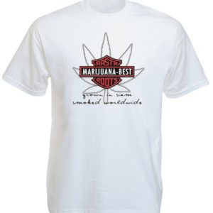 Harley Davidson Marijuana Best Rasta Roots White Tee-Shirt