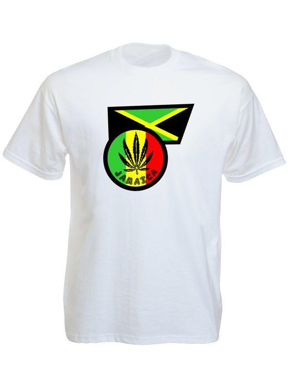 Ganja Leaf Jamaica Flag White Tee-Shirt