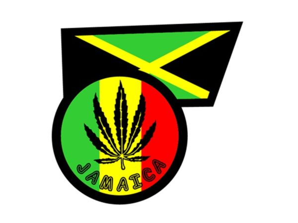Ganja Leaf Jamaica Flag White Tee-Shirt