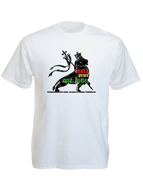 Rasta Lion Peace One Love White Tee-Shirt