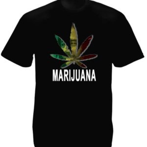Marijuana Leaf Bob Marley Portrait Black Tee-Shirt