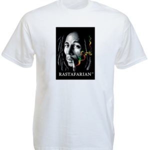 Bob Marley Rastafarian Smoking Joint White Tee-Shirt