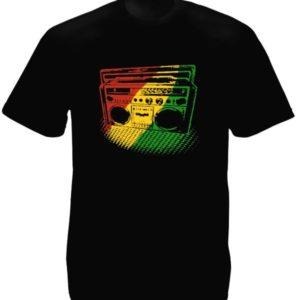 Green Yellow Red Rasta Radio Black Tee-Shirt