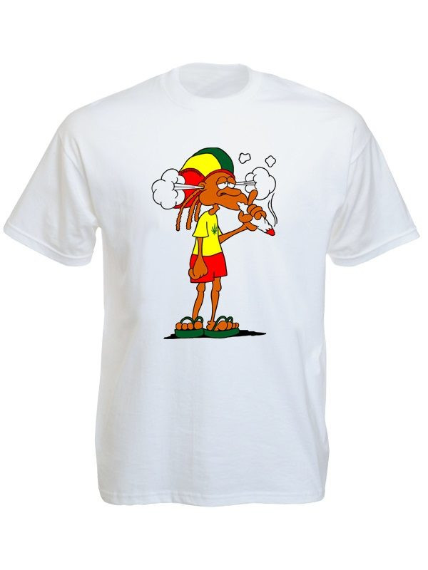 Rastaman Smoking Cannabis White T-Shirt Short Sleeves Green Yellow Red Colors