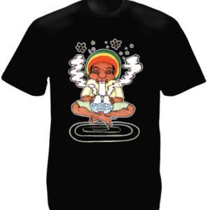Bong Smoking Rastaman Black Tee-Shirt