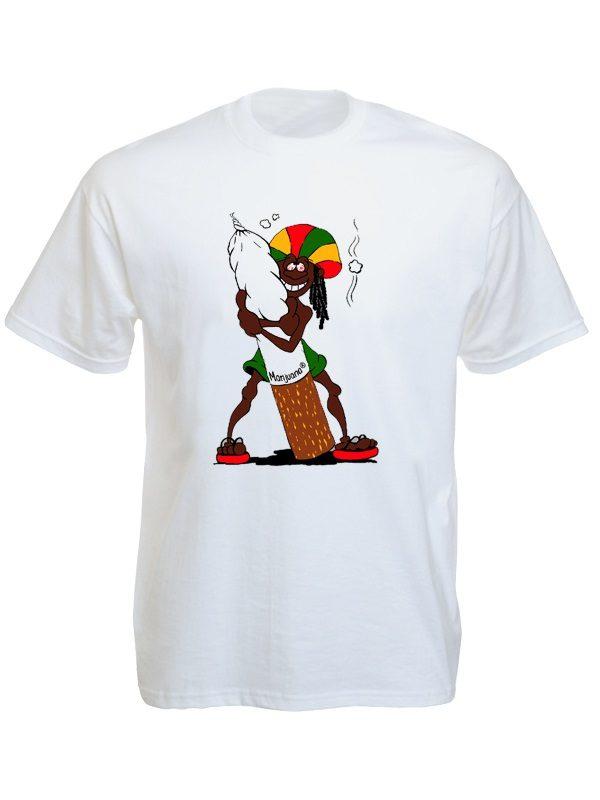 Rastaman Big Ganja Joint White Tee-Shirt