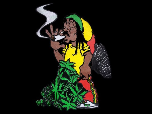 Rastaman Smoking Ganja Joint Black Tee-Shirt