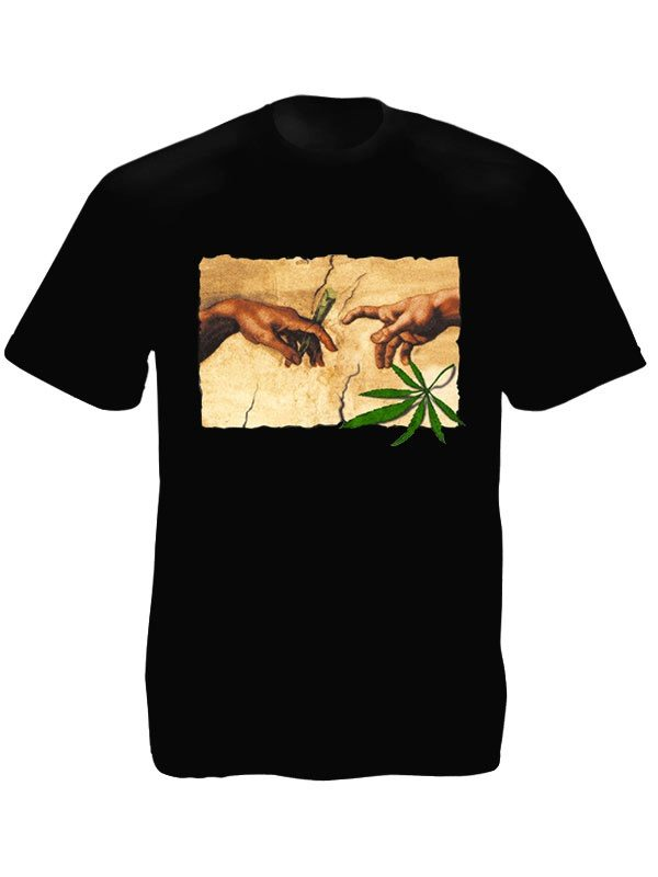 Michelangelo Painting The Creation of Adam Black Tee-Shirt