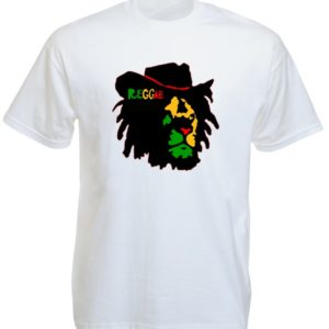 Reggae Colors Lion of Judah Face White Tee-Shirt