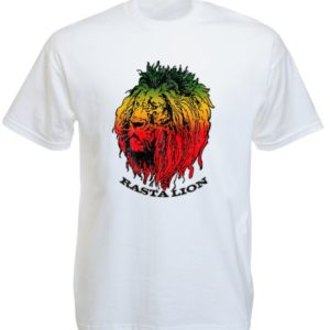 Green Yellow Red Rasta Lion Head White Tee-Shirt