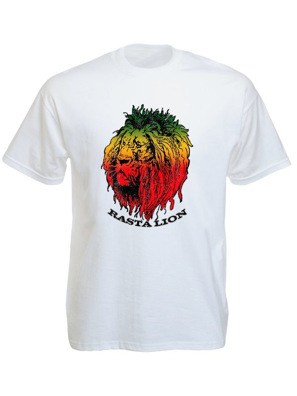 Green Yellow Red Rasta Lion Head White Tee-Shirt