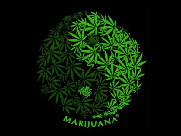 Yin & Yang Marijuana Leaves Black Tee-Shirt
