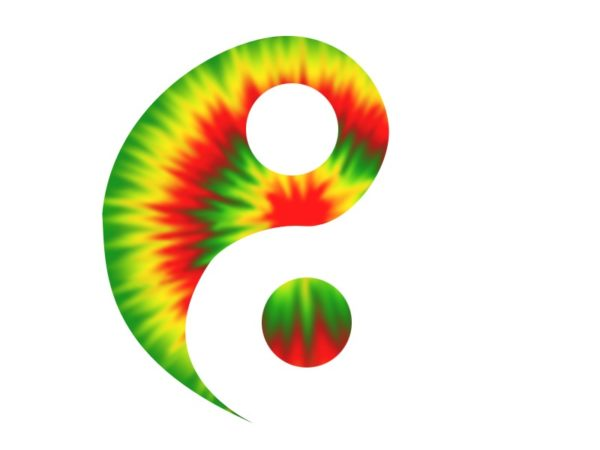 Rasta Yin and Yang Psychedelic White Tee-Shirt
