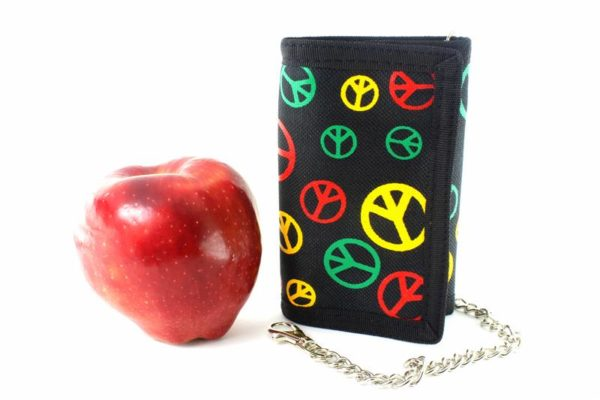 Chain Wallet Peace and Love Green Yellow Red