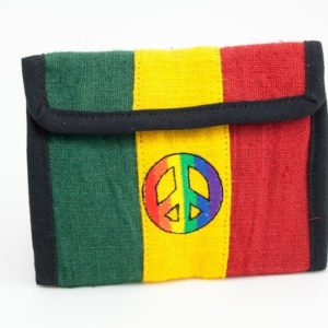 Wallet Hemp Peace And Love Velcro Zip